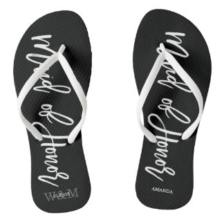"Modern Typography ""Maid of Honor"" Flip Flops"