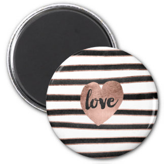 Modern typography rose gold hearts stripes love magnet