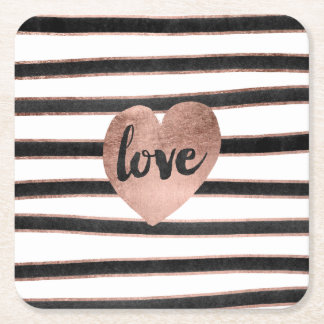Modern typography rose gold hearts stripes love square paper coaster