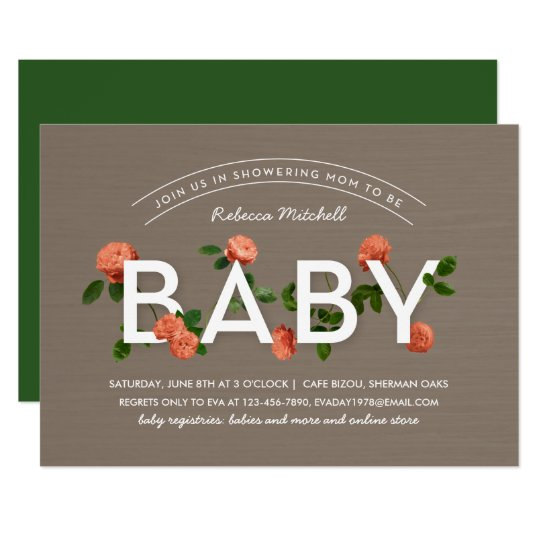 Modern Typography Roses Baby Shower Card
