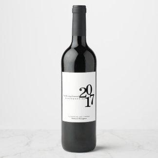 Modern Typography Wedding Date Wine Label