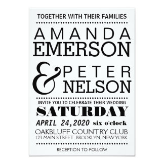 Modern Typography Wedding Invitation