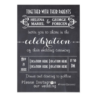 Modern typography with Instagram hashtag wedding 13 Cm X 18 Cm Invitation Card