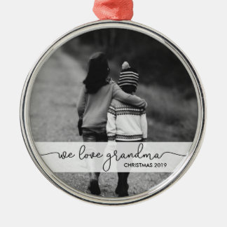 Modern Typography with Photo   We Love Grandma Silver-Colored Round Decoration