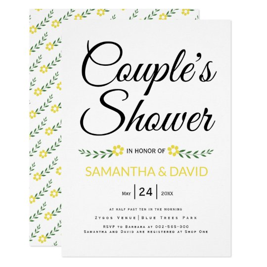 Modern typography yellow couples shower wedding card