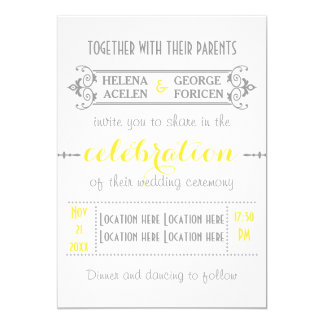 Modern typography yellow, grey wedding card