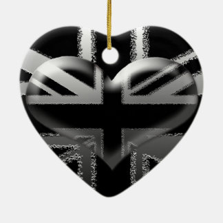 Modern Union Jack Flag and Heart Ceramic Heart Decoration