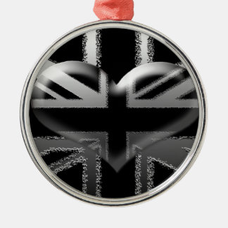 Modern Union Jack Flag and Heart Silver-Colored Round Decoration
