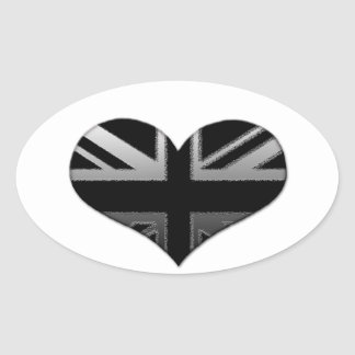 Modern Union Jack Heart Flag Oval Sticker