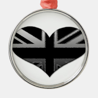 Modern Union Jack Heart Flag Silver-Colored Round Decoration