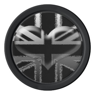 Modern Union Jack Heart Poker Chip