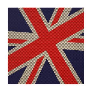 Modern Union Jack on Carbon Fiber Style Print Wood Print