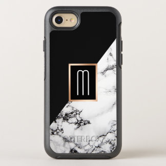 Modern Unique Black White Marble Texture Monogram OtterBox Symmetry iPhone 7 Case