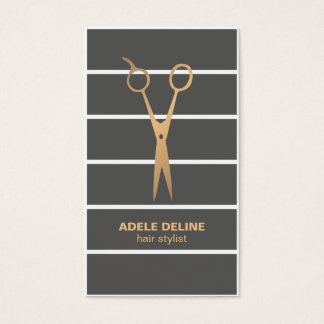 Modern Unique Grey Stripes Copper Scissor Hair Business Card