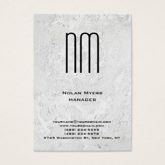 Modern unique grey wall texture monogram business card
