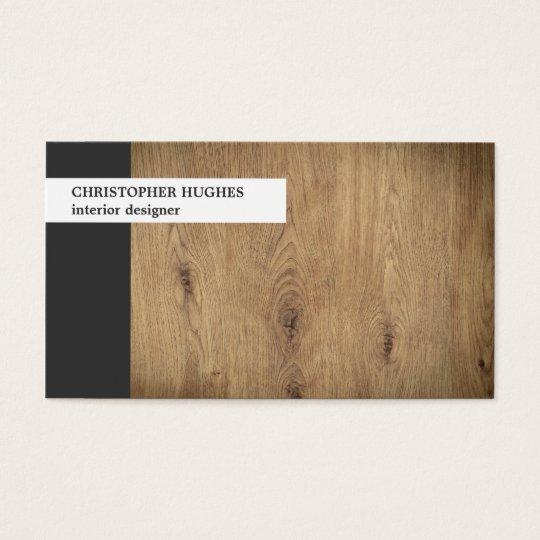 Modern Unique Photo Wooden Interior Designer Business Card