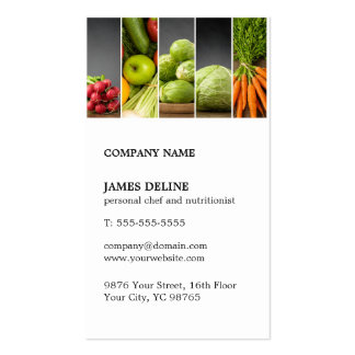 Modern Unique Vegetable Personal Chef Nutritionist Double-Sided Standard Business Cards (Pack Of 100)