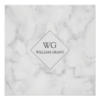 Modern Upscale Business Monogram on White Marble