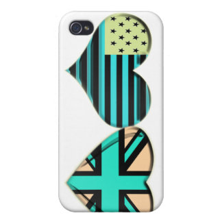 Modern USA and UK Heart Flag Gifts Case For The iPhone 4