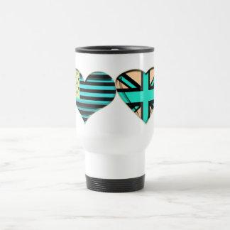 Modern USA and UK Heart Flag Gifts Travel Mug