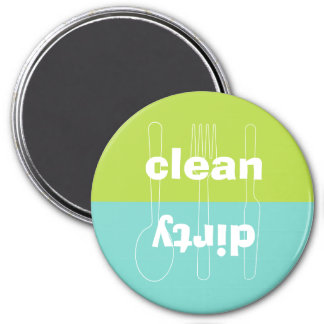 Modern utensil dirty clean blue green dishwasher 7.5 cm round magnet