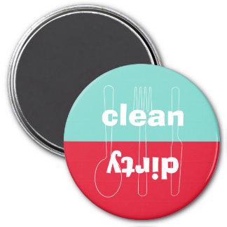 Modern utensil dirty clean red blue dishwasher 7.5 cm round magnet