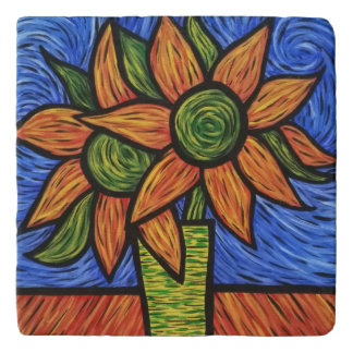 Modern Vase With Flowers Orange And Blue Trivet