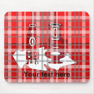 Modern vases in red plaid mousepads