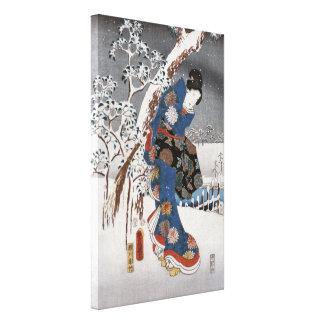 Modern Version of the Tale of Genji in Snow Scene Gallery Wrap Canvas