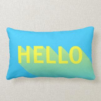 Modern Vibrant Blue and Yellow Hello Typography Lumbar Cushion