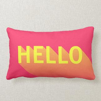 Modern Vibrant Pink and Yellow Hello Typography Lumbar Cushion