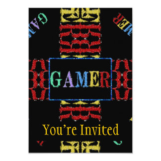 Modern Video Gamer Mosaic 13 Cm X 18 Cm Invitation Card