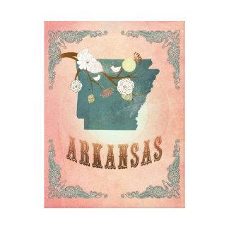 Modern Vintage Arkansas State Map- Pastel Peach Canvas Prints