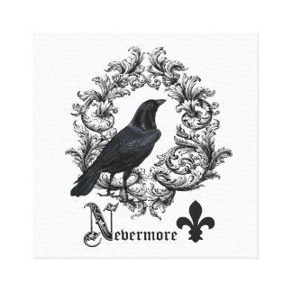 modern vintage black halloween crow stretched canvas prints