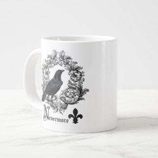 modern vintage black halloween crow large coffee mug