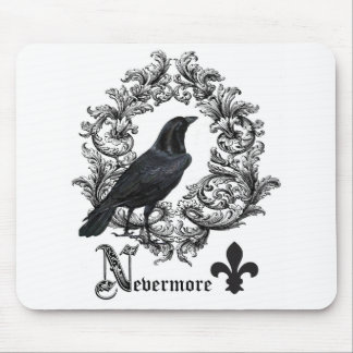 modern vintage black halloween crow mouse pad