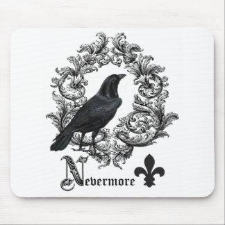 modern vintage black halloween crow mouse pad