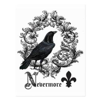 modern vintage black halloween crow postcard