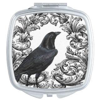 modern vintage black halloween crow travel mirror
