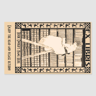 Modern Vintage Bookplate v1 Personalized Rectangular Sticker