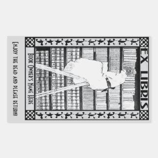 Modern Vintage Bookplate v3 PERSONALIZED Rectangular Sticker
