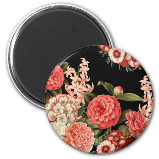modern vintage botanical pink flowers 6 cm round magnet