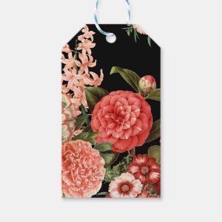 modern vintage botanical pink flowers gift tags