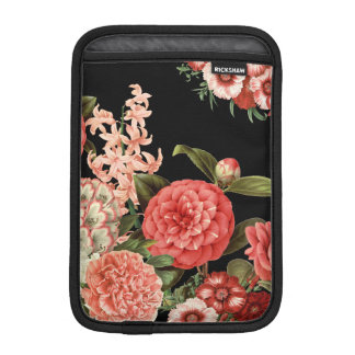 modern vintage botanical pink flowers iPad mini sleeve