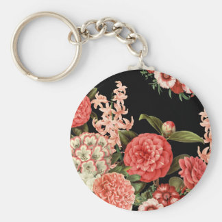 modern vintage botanical pink flowers key ring
