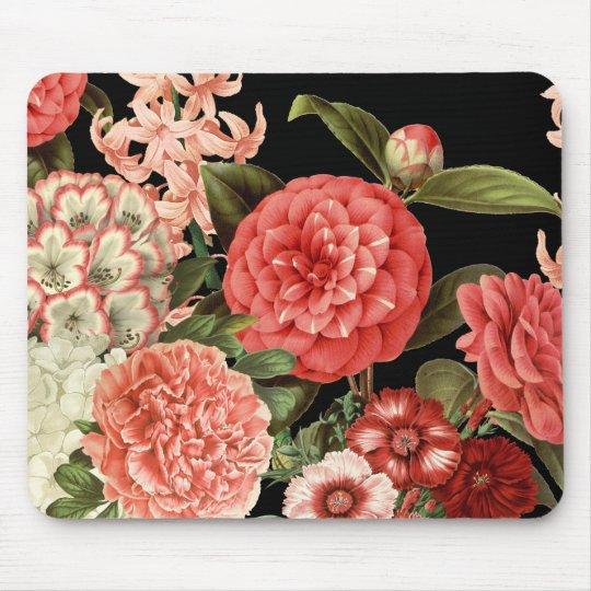 modern vintage botanical pink flowers mouse mat