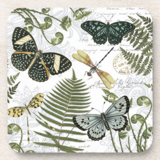 modern vintage butterflies and dragonflies coaster