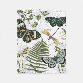 modern vintage butterflies and dragonflies fleece blanket