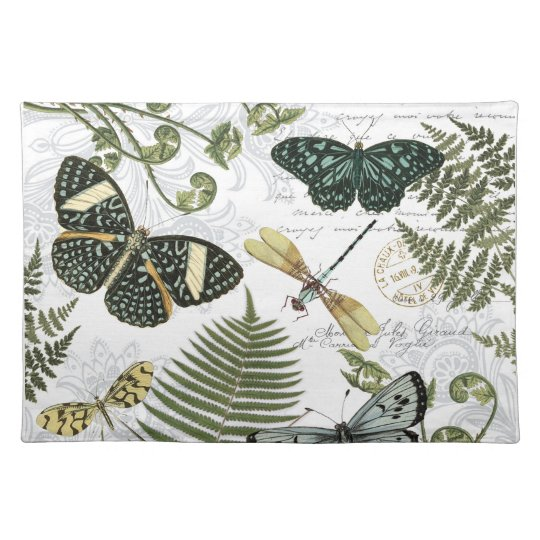 modern vintage butterflies and dragonflies placemat