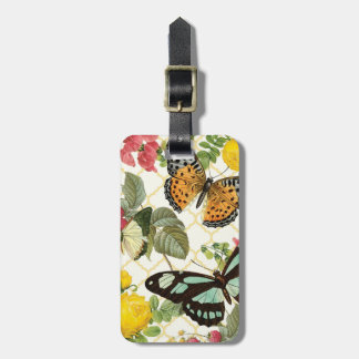 modern vintage butterfly garden luggage tag